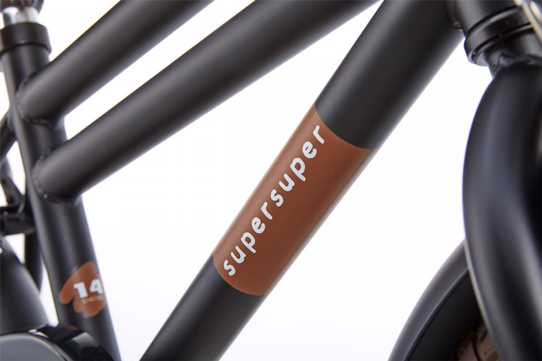 Supersuper Cooper Bamboo Kinderfiets 14 inch Jongens Mat Zwart